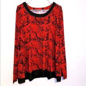 Cato black red floral blouse
